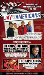 Jay and The Americans, The Happenings and the original lead singer of The Buckinghams…