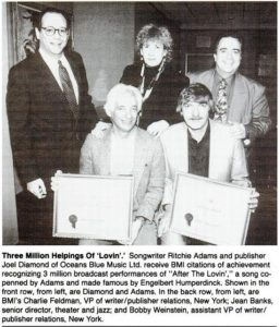 "An April 2, 1994 clipping from Billboard magazine, commemorating 3 million airplays of Ziegler's composition ""After the Lovin'."""
