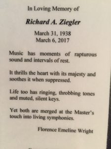 Richard Ziegler memorial card