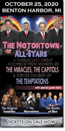 Get motown concert tickets to The Motortown All-Stars, The Original Vandellas, the Marvelettes & the Shades of Blue on Sunday, October 25, 2020, at the Mendel Center.
