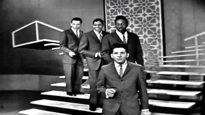 The Crests on American Bandstand (l to r): Harold Torres, Tommy Gough, JT Carter backing Johnny Maestro