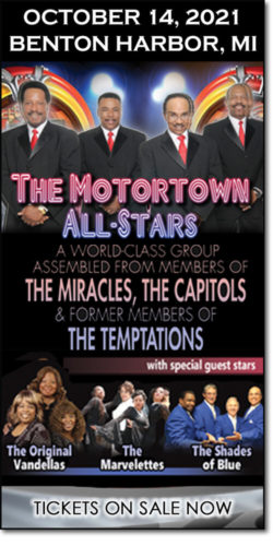 Get motown concert tickets to The Motortown All-Stars, The Original Vandellas, the Marvelettes & the Shades of Blue on Thursday, October 14, 2021, at the Mendel Center.
