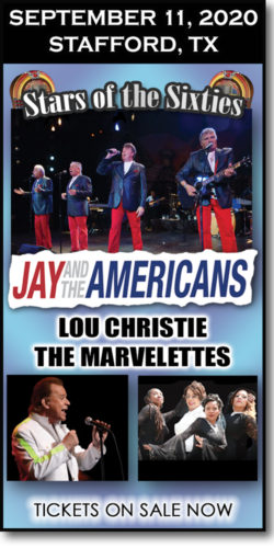 Stars of the 60s concert at the Stafford Centre on September 11, 2020. Jay & the Americans, Lou Christie, and The Marvelettes.