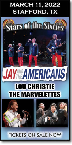 Stars of the 60s concert at the Stafford Centre on March 11, 2022. Jay & the Americans, Lou Christie, and The Marvelettes.