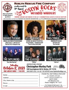 Help Roslyn Rocks for Operation Wounded Warrior raise money for firefighters w/this 60s concert (October 2, 2021): Dennis Tufano, La La Brooks, The Skyliners, The Cyrkle, The Classics, and Vito Picone & the Elegants.